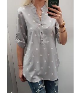 Marškinukų tipo pilka taškuota palaidinė + didesni dydžiai