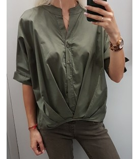 Asimetriniai chaki spalvos marškiniai
