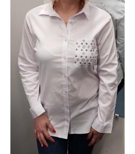 Balti asimetriniai marškiniai su paveiksliuku nugaroje