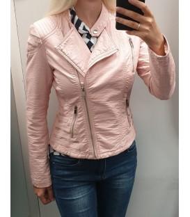 Šviesiai rožinė odinė striukė
