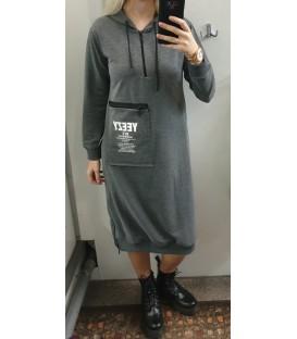 Pilka bliuzono stiliaus suknelė - tunika