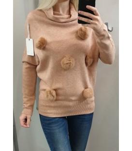 Megztinis su natūralaus kailio bumbuliukais