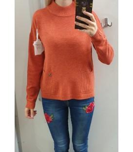 Asimetrinis megztinis su kišenėmis