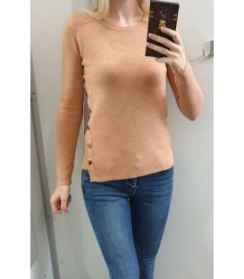 Trumpas megztinis su auksinės spalvos detalėmis
