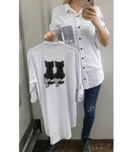 Balti asimetriniai marškiniai su kačiukais
