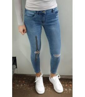 Mėlyni plėšyti džinsai su užtrauktukais