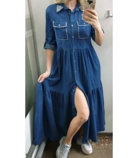 Laisva džinsinė maxi suknelė
