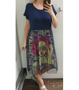 Didesnio dydžio Pop art suknelė su tiuliu